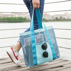 Ganah - 旅行网纱拼接沙滩袋