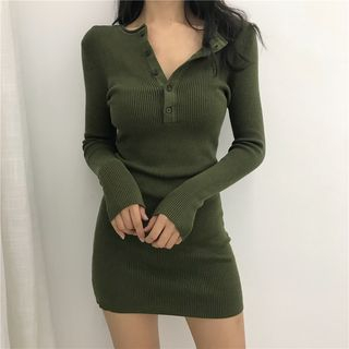 FancyMe - Long-Sleeve Henley Mini Bodycon Rib-Knit Dress