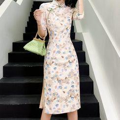 Luxury Style - Leaves Printed Elbow-Sleeve Midi Qipao