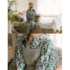 GOROKE - Drawstring-Waist Floral Print Dress