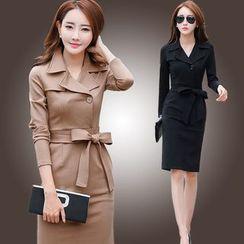 MARGOT - 長袖西裝領塑身大衣連衣裙