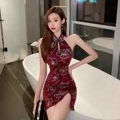 ROSESILK - Sleeveless Floral Mini Bodycon Qipao Dress
