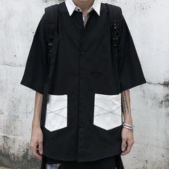 Sevilla - Color-Block Front Pocket Elbow-Sleeve  Shirt