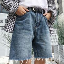 MELLO - 情侣高腰牛仔短裤