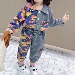 ChibiJia - Kids Set: Camouflage Paneled Denim Jacket + Jeans