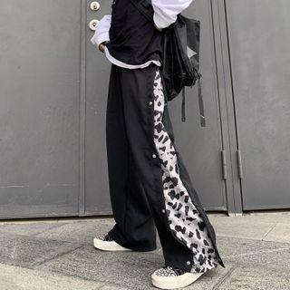 Shineon Studio - 豹纹拼接纯色直筒裤