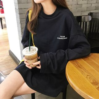 CRIBI - Letter Embroidered Oversize Long-Sleeve T-Shirt