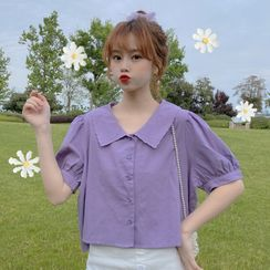 Sisyphi - Short-Sleeve Embroidered Button-Up Cropped Blouse
