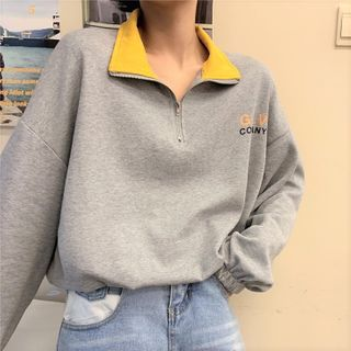 Mushini - Loose-Fit Long-Sleeve Lettering Polo Shirt