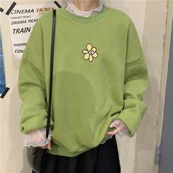 Ashlee - Übergroßes besticktes Blumen-Sweatshirt / langärmliges Spitzenoberteil