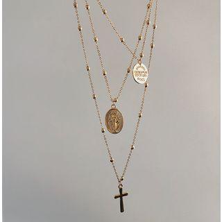 Cometto - Collier pièce et croix à plusieurs rangs