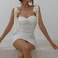 Dictynna - Tie-Shoulder Mini Sheath Dress