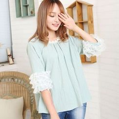 Blue Hat - 3/4-Sleeve Lace-Panel Top