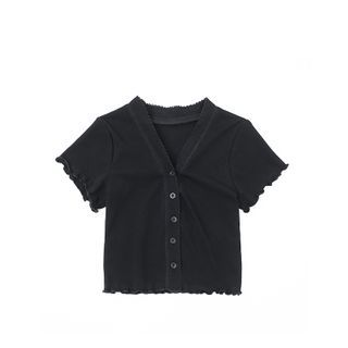 JIN STUDIOS - Short-Sleeve Frill Trim Button-Up Top
