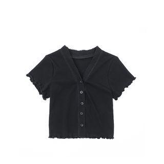 JIN STUDIOS - 短袖皱摺边钮扣上衣