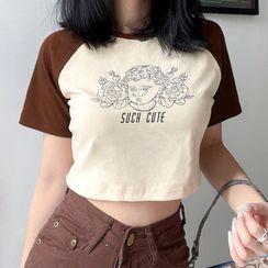 Sosana - Short-Sleeve Print Raglan Cropped T-Shirt