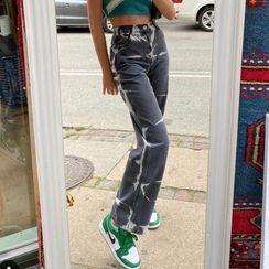 BrickBlack - Tie-Dyed Straight Leg Jeans