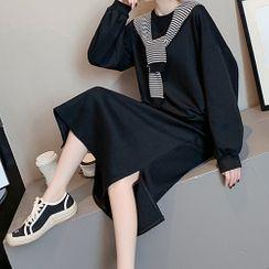 Bubble Pop - Set: Plain Pullover + Midi Skirt