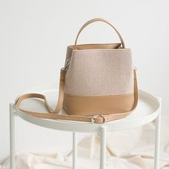 Seede - Faux Leather Panel Shoulder Bucket Bag