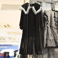 Kaypray(ケイプレイ) - Lace Trim Long-Sleeve Midi Dress