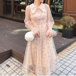 Kokuko - Dotted Long-Sleeve Collared A-Line Mesh Dress