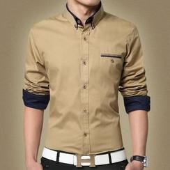 RUYA - Camisa de manga larga con bolsillo resaltado