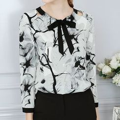YUMU - Print Bow Long-Sleeve Top
