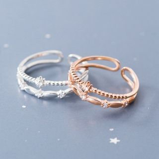 A'ROCH(エーロック) - 925 Sterling Silver Rhinestone Star Layered Open Ring