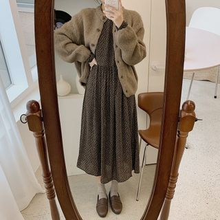 Leoom - Plain Cardigan / Long-Sleeve Floral Print Midi A-Line Dress