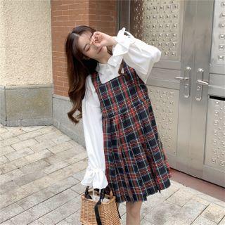 Guromo - Lace-Up Shirt / Plaid Pinafore Dress
