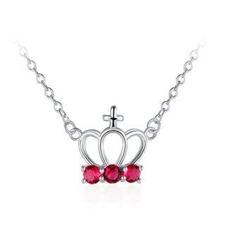 BELEC - Fashion Elegant Crown Necklace with Red Austrian Element Crystal