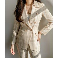Styleonme(スタイルオンミー) - Peaked-Lapel Tailored Plaid Blazer