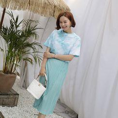 Lemite - Crystal-Pleat Midi Wrap Skirt