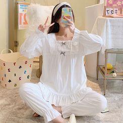 Sweetzer - Pajama Set: Bell-Sleeve Ribbon Top + Lounge Pants