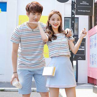 Azure - Couple Matching Striped Short-Sleeve T-Shirt / High Waist A-Line Skirt / Plain Shorts