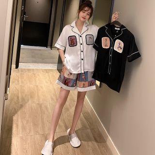 Endormi - Couple Matching Pajama Set: Printed Short-Sleeve Shirt + Shorts
