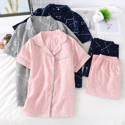 MelMount - Pajama Set: Short-Sleeve Top + Pants