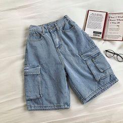 DIYI - 牛仔工裝短褲