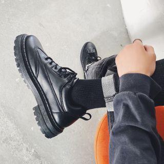 Lazi Boi - Plain Faux Leather Lace-Up Shoes