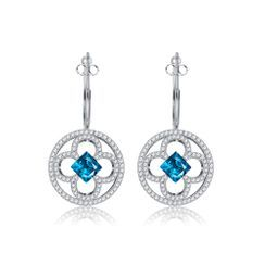 BELEC(ベレック) - Elegant Fashion Camellia Flower Earrings with Austrian Element Crystal