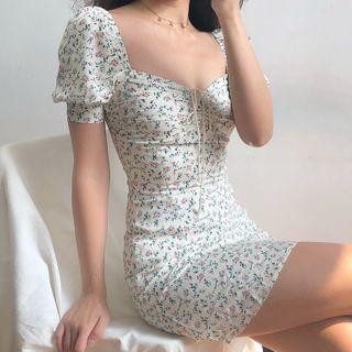 CRIBI - 短袖碎花迷你塑身连衣裙
