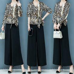 belle epoque - 套装: 豹纹衬衫 + 阔脚裤