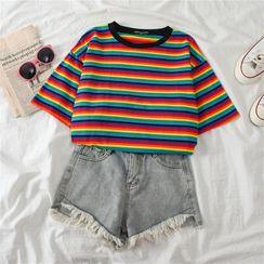 Edise - 配色彩虹條紋短袖T裇