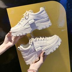 Shanhoo - 仿皮厚底休閒鞋