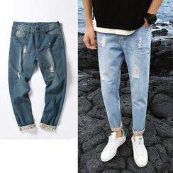 Kieran - Floral Cuff Slim-Fit Jeans