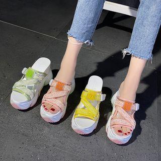 Sleeko - Chunky Platform Hidden-Wedge Slide Sandals