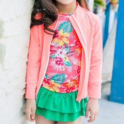 Roseate - Kids Set: Floral Top + Swim Skirt