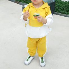 MOM Kiss - 小童套裝: 獅子印花連帽衫 + 條紋九分哈倫褲