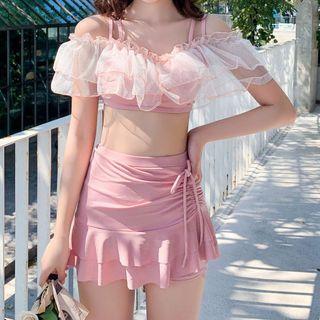 Lohto - Set: Cold-Shoulder Ruffle Tankini Top + Drawstring Swim Skirt