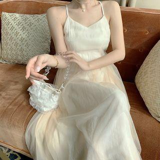 Yuxi - Halter-Neck Cross Back Midi A-Line Mesh Dress